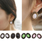 New Fashion Women Retro Vintage Style Candy-Colored Oval Gem Ear Stud Earrings