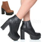 WOMENS LADIES HIGH HEEL BLOCK CHUNKY CLEATED GUSSET FRONT CHELSEA ZIP ANKLE BOOT