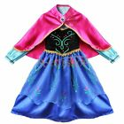 Frozen Princess Queen Anna Elsa Girls Christmas Party Costume Dress Cosplay+Cape