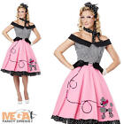Pink Poodle 50s Fancy Dress Ladies Rock n Roll Grease Movie 1950s Costume Outfit