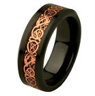 8MM Rose Gold Celtic Dragon Tungsten Carbide Mens Black Ring Wedding Band M60