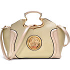 Women Drop Handle Raised Stitch Winged Handbag Gold Tone Decoration Leather Bag