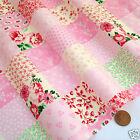 per 1/2 metre/fat quarter pretty pink patchwork print fabric 100% cotton