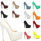 WOMENS CONCEALED PLATFORM STILETTO HIGH HEELS COURT SHOES SIZE 2 3 4 5 6 7 8 9