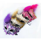 New Fashion Popular Hallowmas Costume Ball Lace With Feather Venetian MasksEKWUM