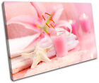Pink Candles Floral Bathroom SINGLE CANVAS WALL ART Picture Print VA