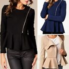 Casual Fashion Women Zipper Slim Shirt Long Sleeve Tops Blouse Coat Jacket 6-12