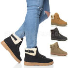 WOMENS LADIES LOW HEEL WINTER WARM FUR CUFF LACE UP BIKER MILITARY ANKLE BOOTS