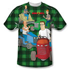King of the Hill Cartoon Comedy TVShow Mowing&Drinking Adult Front Print T-Shirt