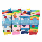 L016 LADIES 12prs COTTON MIX FUNKY STRIPE RETRO SMILEY FACE HAPPY DESIGN SOCKS