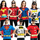 Superhero T-Shirt Adults Fancy Dress DC Comics Mens Ladies Costume Outfit Top