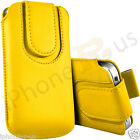 Yellow Leather Magnetic Pull Tab Case Cover For Various Huawei Models