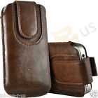 Brown Magnetic PU Leather Pull Tab Flip Case Cover For Various Nokia Phones