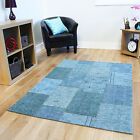 Small Medium Large Patchwork Blue Rugs Soft Cotton Easy Clean Living Room Rug