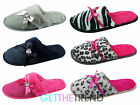 Ladies Womens Slipper Shoes Leopard Zebra Diamante Print Comfy Slippers Mules