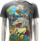 m240g Minute Mirth T-shirt Sz L Tattoo Skull Funny Design Fox Wolf Myth Men Gift