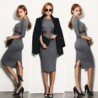 Winter Autumn Fashion Women Long Sleeve Bodycon Stretch Knitted Dress Work Wear