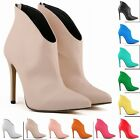 WOMENS MATT HIGH HEELS STILETTO CASUAL ANKLE BOOTS SHOES SIZE 4 5 6 7 8 9 10 11