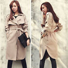 Women Lapel Belt Loose Long Trench Coat Apricot Outerwear Overcoat Winter Casual