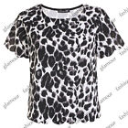 LADIES LEOPARD ANIMAL PRINT SCALLOP TRIM WOMENS TOP TEE SIZE 8-14
