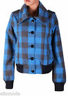 Fenchurch Womens Blue Grey Check Levio Bomber Jacket Free UK Shipping Small BNWT