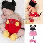 Girl Boy Baby Infant Minnie Mickey Mouse Crochet Knit Costume Photo Props Outfit