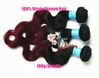 3pcs/300g Peruvian Human Hair Extensions 6A Ombre Black Red Body Wave Hair Weft