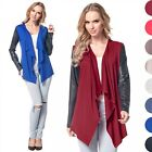 Glamour Empire Women's Waterfall Cardigan Jacket Cape Eco Leather Sleeves 098