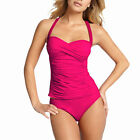 2 Pieces Tied-up Halter Tankini Top with Bikini Bottom Swimwear Swmsuit Fuchsia