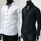 PJ DESIGN SHIRTS Mens Formal Casual Dress Shirts S-M-L-XL Solid Black White Tops