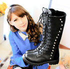 Fashion womens PU leather Motorcycle knee high boots lace Up rivets combat boots