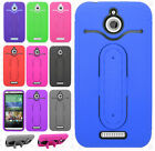 For HTC Desire 510 Rubber Hybrid HARD Case Cover with Snap Tail STAND Accessory