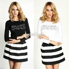 New Womens Casual Crew Neck Stretch Long Sleeve Letters Print T Shirt Top S0BZ