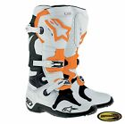 Alpinestars Tech 10 Boots White Orange Motocross Motorcycle Mx w/ Moto Bracelet