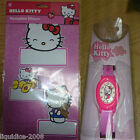HELLO KITTY OFFICIAL GIRLS CHILDRENS WATCH AND BEDROOM NAMEPLATE STICKER SET