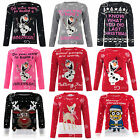 Ladies Novelty Olaf Frozen Knitted Cute Cheeky Minion Christmas Xmas Jumper Top