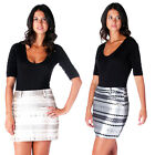 AJ61 Ladies Sexy Zig Zag Aztec Print Mini Womens Short Shiny Bodycon Skirt