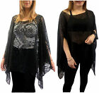 ONE SIZE 10-22 BLACK LACE/SPOTTED GOTHIC BATWING PONCHO CAPE EVENING OVER TOP