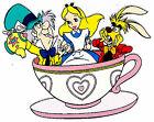 "3-6"" DISNEY ALICE IN WONDERLAND TEACUP   CHARACTER CUSTOM  HEAT TRANSFER IRON ON"