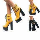LADIES WOMENS CHUNKY CLEATED SOLE PLATFORM BLOCK HIGH HEEL GOTH BOOTS SHOES SIZE