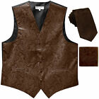 "New Men's Formal Vest Tuxedo Waistcoat 2.5"" necktie set paisley wedding Brown"