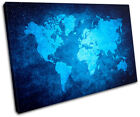 Funky World Atlas Maps Flags SINGLE CANVAS WALL ART Picture Print VA