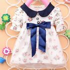 All Season Long Sleeve Doll Collar Girls Dress 0-24M Infant Floral Lace Bow 35DI