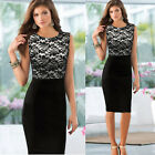 Women Sexy Slim Lace Sleeveless Bodycon Cocktail Party Pencil Dress Reliable