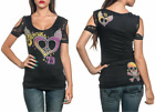 Sinful AFFLICTION Women T-Shirt Top VERTIGO Rhinestones BLACK LACE Biker UFC $68