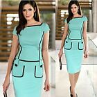 Sexy Ladies Short Sleeve Peplum Cocktail Evening Party Bodycon Sheaft Dress 35DI