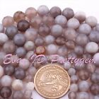6/8/10/12/14MM FACETED ROUND GRAY BANDED AGATE LOOSE GEMSTONE BEADS STRAND 15""