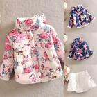 Toddlers Kids Girls Cotton Floral Coat Long Sleeve Jacket Thick Outerwear 2-6Y