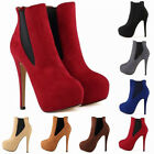 WOMENS FAUX VELVET SUEDE HIGH HEELS SPLIT JOINT CASUAL ANKLE BOOTS AU 3.5 -8.5