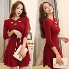 Sexy Autumn Winter Women's Bandage Evening Party Cocktail Sweater Mini Dress Red